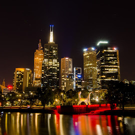 Melbourne City Skyline by Dean Brandt - City,  Street & Park  Skylines ( cityscapes, yarra river, melbourne, australia, buildings, reflections, city lights, long exposure, night shot, nightscapes,  )