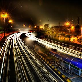 Light Trail, Kuala Lumpur by Zulkifli Yusof - City,  Street & Park  Vistas ( light trail, highway, night, road, kuala lumpur )