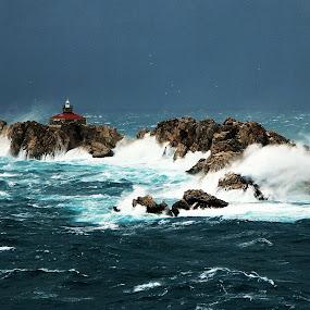 Juliana  Cyclone  by Mirjana  Bocina - Landscapes Waterscapes ( water, dubrovnik, blue, grebeni, waves, croatia, lightlhouse, sea, storm,  )