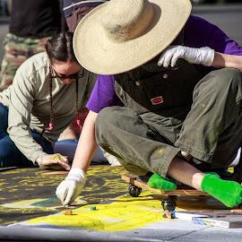Artists at Work by Randi Hodson - People Street & Candids ( chalk, art, artist, outside )