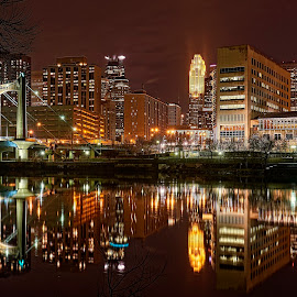 Minneapolis from the Mississippi by Mike Woodard - City,  Street & Park  Skylines ( skyline, mississippi river, minneapolis, night )