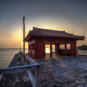 by Bill MacLachlan - Landscapes Sunsets & Sunrises ( coral, japan, sunset, ocean, architecture, okinawa )
