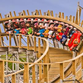 wooden roller coaster thrills by Michael Graham - City,  Street & Park  Amusement Parks ( wooden roller coaster, wisconsin, amusement park, amusement ride, theme park, wooden coaster,  )