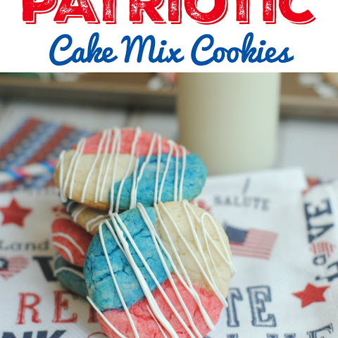 Patriotic Red White & Blue Cake Mix Cookies