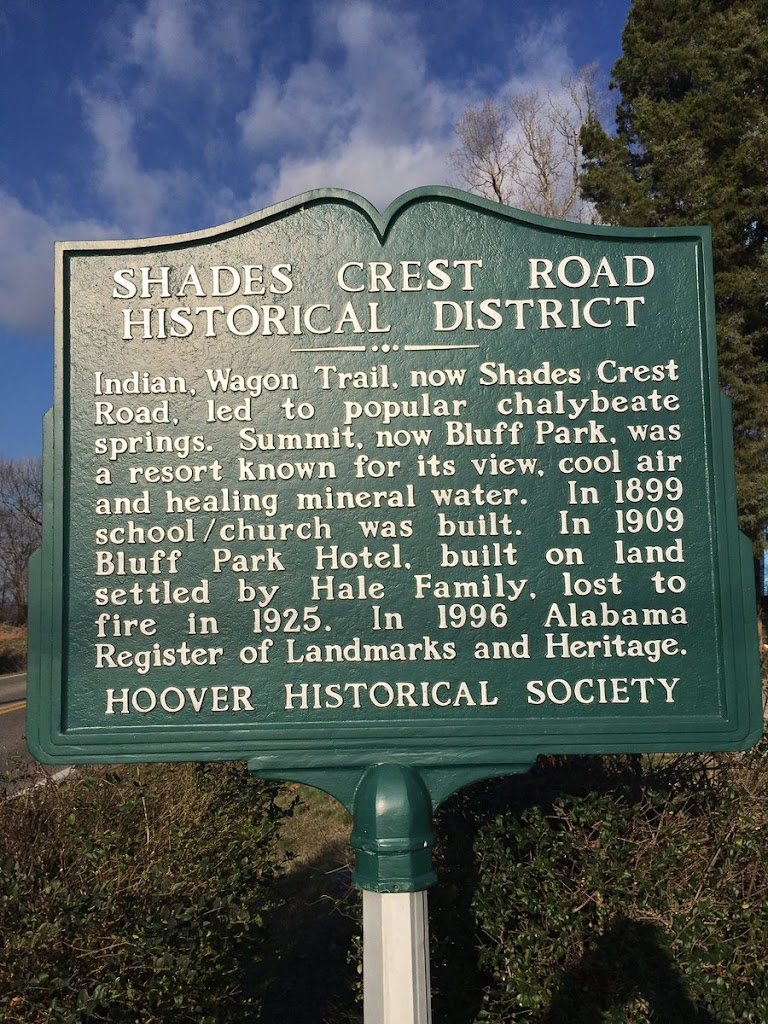 Indian, Wagon Trail, now Shades Crest Road, led to popular chalybeate springs. Summit, now Bluff Park, was a resort known for its view, cool air and healing mineral water. In 1899 school / church was ...