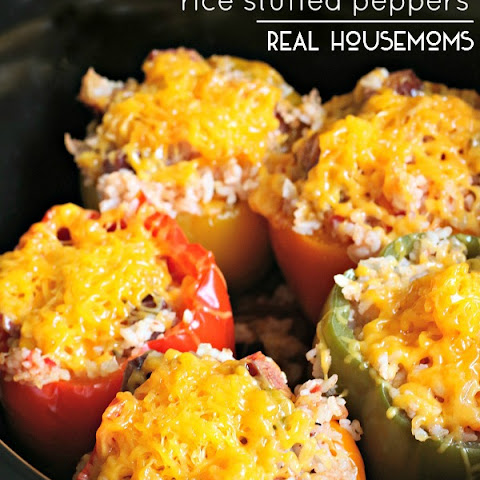 Slow Cooker Sausage and Rice Stuffed Peppers