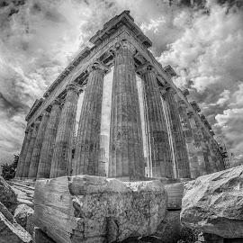 The Parthenon by Nikos Diavatis - Buildings & Architecture Statues & Monuments ( fisheye, parthenon, b&w, black and white, greece acropolis )
