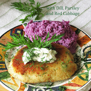 Potato Pancakes with Dill, Parsley and Red Cabbage