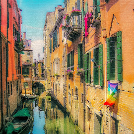 Venice Again by Joan Sharp - Digital Art Places ( venice, street scene, arcitecture, colorful, boat,  )
