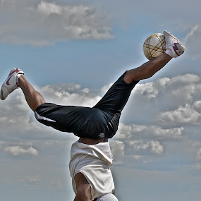 the world upside;-) by David Van der Smissen - Sports & Fitness Soccer/Association football ( paris, ball, football, art, sports, show )