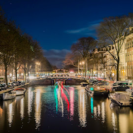 Amsterdam by Nikolas Ananggadipa - City,  Street & Park  Street Scenes ( canon, building, long exposure, amsterdam, night, river, city )