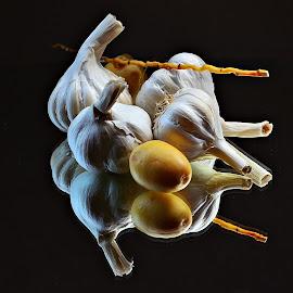 Still life 2 by Prasanta Das - Food & Drink Ingredients ( garlic, dates, still life, pods )