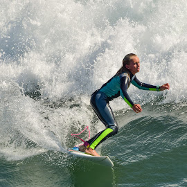 Lady Surfer in HB by Jose Matutina - Sports & Fitness Surfing ( girl, surfer, woman, california, lady, huntington beach )