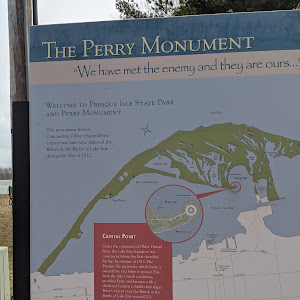 Plaque detailing information regarding the monument to Oliver Perry, the US Naval Commander who defeated a British fleet on Lake Erie in 1813 during the War of 1812.