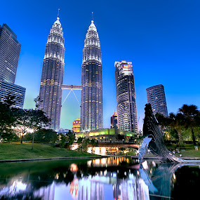 KLCC blue hour by Jasni Ulak - City,  Street & Park  Skylines