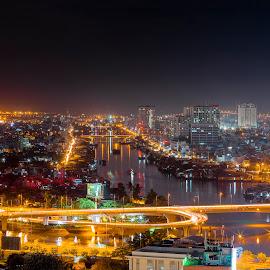 Saigon by night by Sơn Hải - City,  Street & Park  Street Scenes ( water, building, street, vietnam, road, house, boat, asian, sky, asia, night, long exposure, bridge, light, stunning, river )