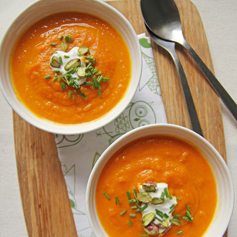 Carrot and Ginger Soup with Creme Fraiche and Pistachios