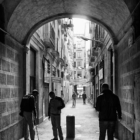 Passageway by Joan Vega - City,  Street & Park  Street Scenes ( b&w, shadow, street, outdoor, day, people, barcelona )