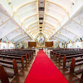 Church Perspective by Mel Sevilla Photographia - Buildings & Architecture Places of Worship ( god, benches, church, wedding, flowers )