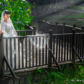 The soul of the lost bride... by Baljit Singh - Wedding Bride ( lost, green, beautiful, brides, soul, wedding dress, beauty, portrait, beautiful wedding, beautiful brides, portraiture, weddings, wedding, greenery, outdoor, sunrays, portraits, bride )