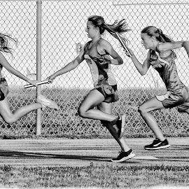 Relay Race by Joe Saladino - Black & White Sports ( track and field, girls, relay race, black and white, runners, race )