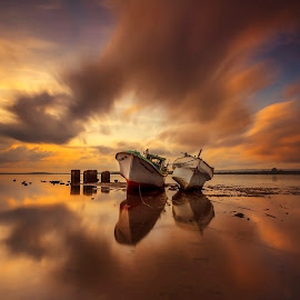 In Time by Choky Ochtavian Watulingas - Landscapes Travel ( clouds, seashore, shipwrecks, long exposure, sunrise, seascape, morning, skies )