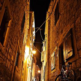 Summer nights by Vedrana Vidovic - City,  Street & Park  Street Scenes ( street, stone, summer, night, nikon )
