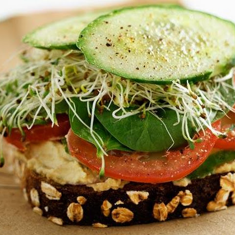 Wholemeal bread with Hummus, Sprouts, Tomato, Cucumber