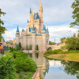 Cinderella's Castle at Golden Hour by R Jay Prusik - City,  Street & Park  Amusement Parks ( walt disney world, reflection, disney world, florida, magic kingdom, castle, cinderella,  )