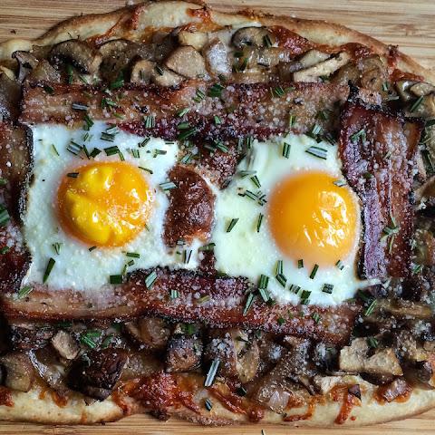 Breakfast Pizza with Rosemary, Bacon, Mushroom, & Caramelized Onion