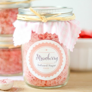 Strawberry Infused Sugar + Printables