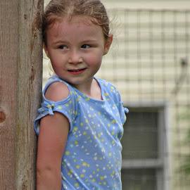 Hide & Seek by Sandy Stevens Krassinger - Babies & Children Children Candids ( hiding, blue, candid, wood, girl, fence, child )