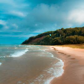 Frankfort by Peggy Zinn - Landscapes Beaches ( wind, beaches, summer day, sanddunes, waves, kiteboarder, sleeping bear national park )