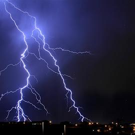 West Jordan Lightning by Paul Marto - Landscapes Weather ( west jordan, lightning bolts, lightning, night photography, utah, stormy weather, thunder shower, rain )