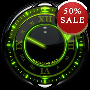 Green Glow Analog Clock Widget