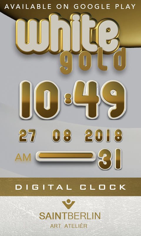 White Gold Clock Widget Screenshot 2