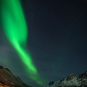 Lights of the north II by Pierre Husson - Landscapes Starscapes ( aurora borealis, tromso, ersfjordbotn, norway )