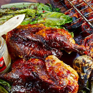 Firecracker Barbecue Chicken with Grilled Cherry Bomb Salad