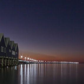 Busselton Jetty Western Auistralia by Tony Burnard - Buildings & Architecture Bridges & Suspended Structures ( building, blue, nigfht, sunset, jetty )