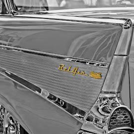 57 CHEVY by Jarrod Unruh - Transportation Automobiles ( car, old car, classic car, black and white, automobile, vehicle, vehicles, antique, classic )