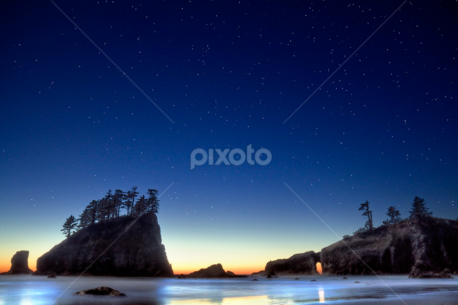 A night for star gazing by William Lee - Landscapes Travel ( stars, twilight, sea stacks, ocean )