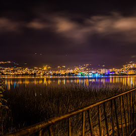 Colorful Night by Andrius La Rotta Esquivel - City,  Street & Park  Night ( amazing, beatiful, night photography, colorful, lake )