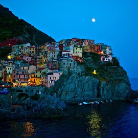 Cinque Terre  by Paul Gonzalez - City,  Street & Park  Vistas ( moon light, reflection, building, mediterranean sea, landscape architecture, city at night, street at night, park at night, nightlife, night life, nighttime in the city )