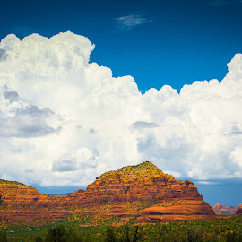 Red Rocks and Clouds by Sean Stevens - Landscapes Mountains & Hills ( clouds, mountains, fluffy, sky, mountain, blue, green, arizona, red rock, white, cloud, red rocks, sedona, rocks )