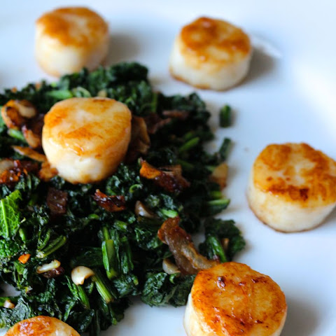 Perfect Seared Scallops with Crispy Shallots and Kale