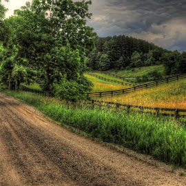 country roads by Fraya Replinger - Landscapes Travel ( field, fence, road, roads, country road )