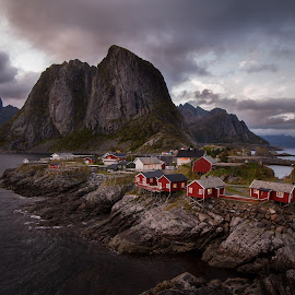 Fishermans cabin by Trond Skogdal - Landscapes Travel ( mountain, reine, sunset, cabins, landscape, lofoten, norway )