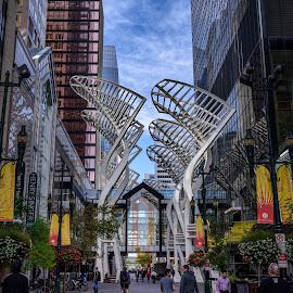 Stephen Ave Mall by Flora van Wageningen - Novices Only Street & Candid ( stephen ave mall, sculpture, street art, street, pedestrians, calgary, street scene, cityscape, street photography )