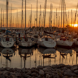 Sunset at Poole harbour by Ruth Holt - Transportation Boats ( uk, poole, sunset, harbour, boats, britain )