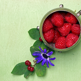 A bowl of Raspberries by Dipali S - Food & Drink Fruits & Vegetables ( baggage, old, handle, luggage, retro, pack, object, travel, rusty, used, aged, transport, pile, leather, flower, classic, bowl, handbag, vintage, suitcase, bag, white, journey, departure, vacations, green background, destination, holiday, tourist, blue, color, voyage, box, brown, case, antique )